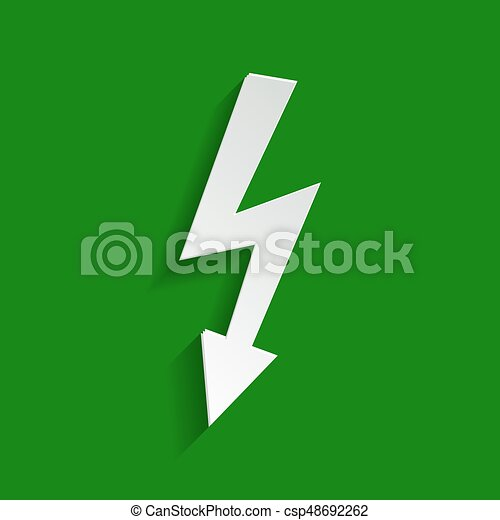 High voltage danger sign. Vector. Paper whitish icon with soft shadow on green background. - csp48692262