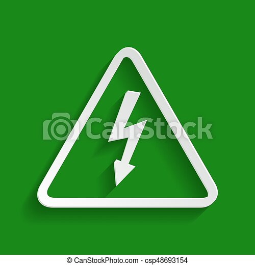 High voltage danger sign. Vector. Paper whitish icon with soft shadow on green background. - csp48693154