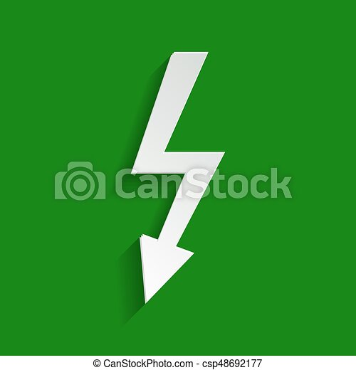 High voltage danger sign. Vector. Paper whitish icon with soft shadow on green background. - csp48692177