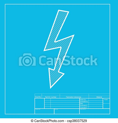 High voltage danger sign  White section of icon on blueprint template