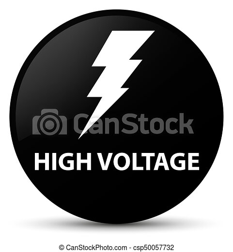 High voltage (electricity icon) black round button - csp50057732