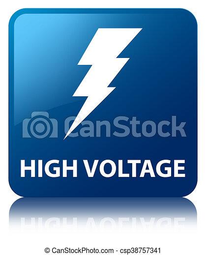 High voltage (electricity icon) blue square button - csp38757341