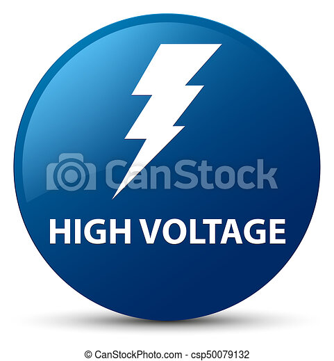 High voltage (electricity icon) blue round button - csp50079132