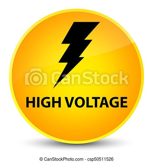 High voltage (electricity icon) elegant yellow round button - csp50511526