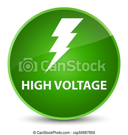 High voltage (electricity icon) elegant green round button - csp50687859