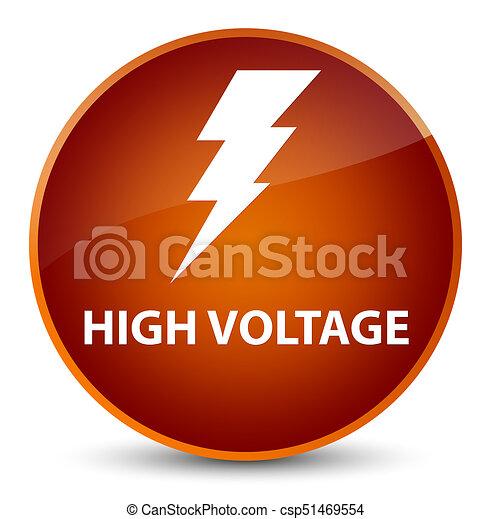 High voltage (electricity icon) elegant brown round button - csp51469554