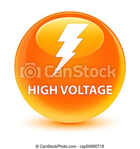 High voltage (electricity icon) glassy orange round button - csp50690719