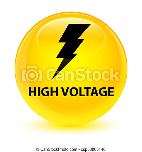 High voltage (electricity icon) glassy yellow round button - csp50805148