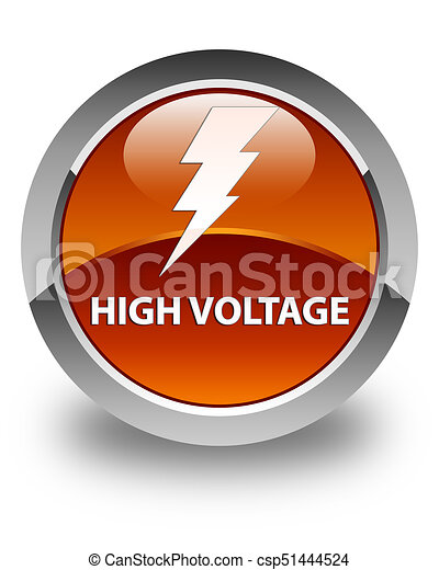 High voltage (electricity icon) glossy brown round button - csp51444524