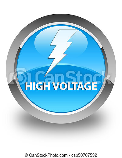 High voltage (electricity icon) glossy cyan blue round button - csp50707532