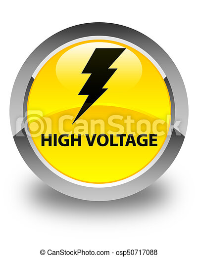 High voltage (electricity icon) glossy yellow round button - csp50717088