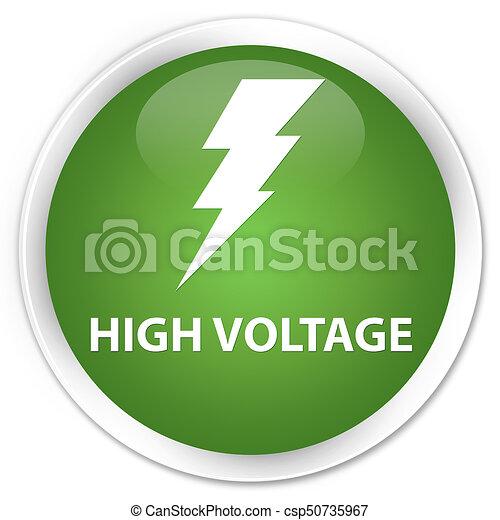 High voltage (electricity icon) premium soft green round button - csp50735967
