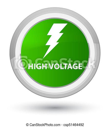 High voltage (electricity icon) prime green round button - csp51464492