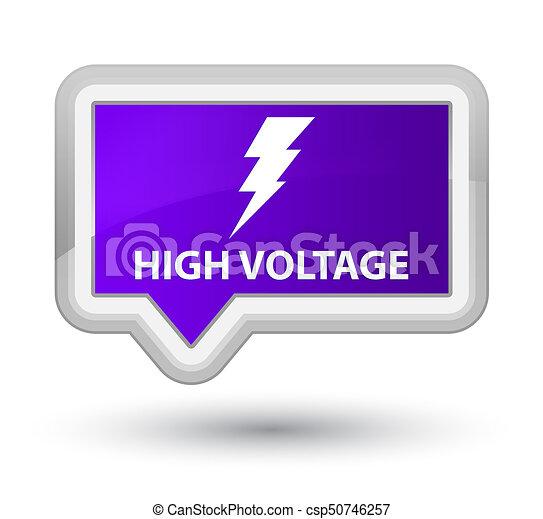 High voltage (electricity icon) prime purple banner button - csp50746257