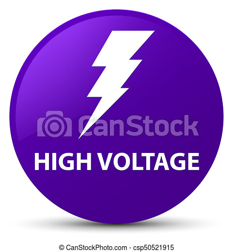 High voltage (electricity icon) purple round button - csp50521915