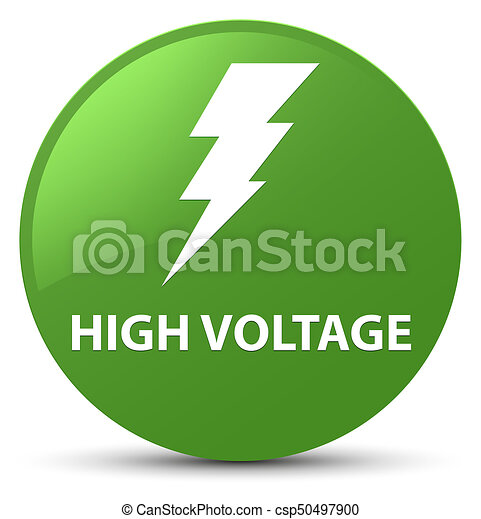High voltage (electricity icon) soft green round button - csp50497900
