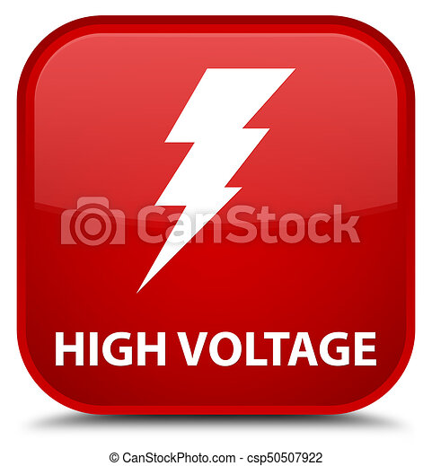 High voltage (electricity icon) special red square button - csp50507922