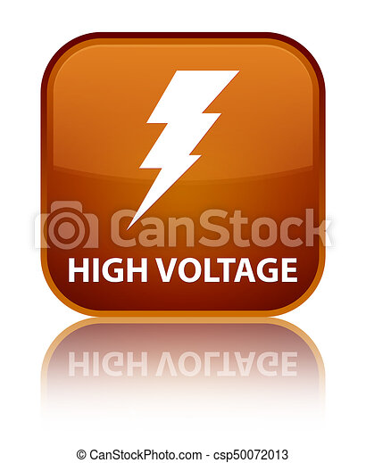 High voltage (electricity icon) special brown square button - csp50072013