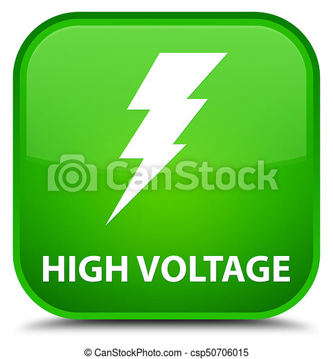 High voltage (electricity icon) special green square button - csp50706015
