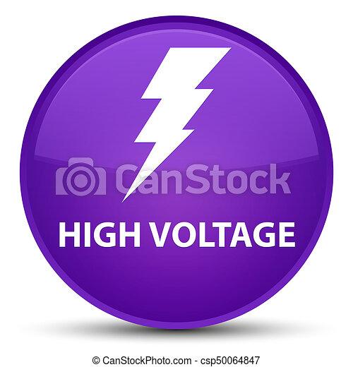 High voltage (electricity icon) special purple round button - csp50064847