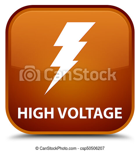 High voltage (electricity icon) special brown square button - csp50506207