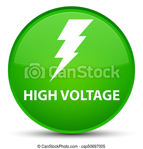 High voltage (electricity icon) special green round button - csp50697005