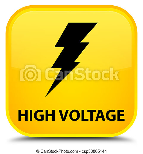 High voltage (electricity icon) special yellow square button - csp50805144