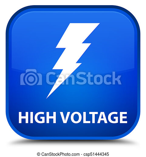 High voltage (electricity icon) special blue square button - csp51444345