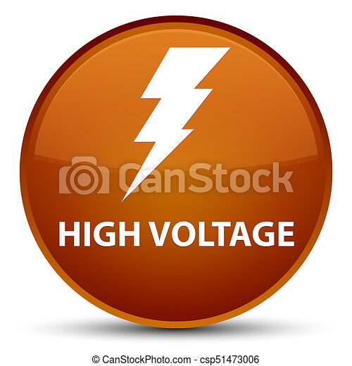 High voltage (electricity icon) special brown round button - csp51473006