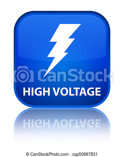 High voltage (electricity icon) special blue square button - csp50667831