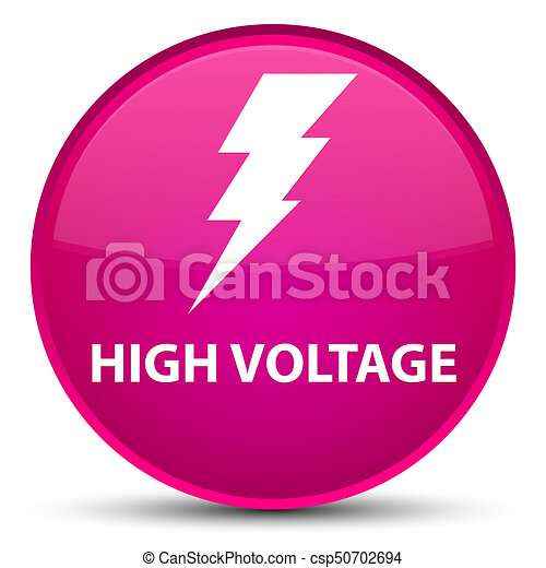 High voltage (electricity icon) special pink round button - csp50702694