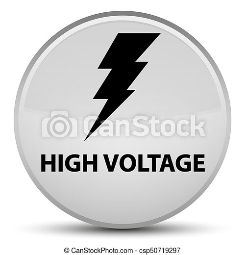 High voltage (electricity icon) special white round button - csp50719297