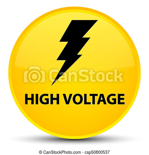 High voltage (electricity icon) special yellow round button - csp50800537