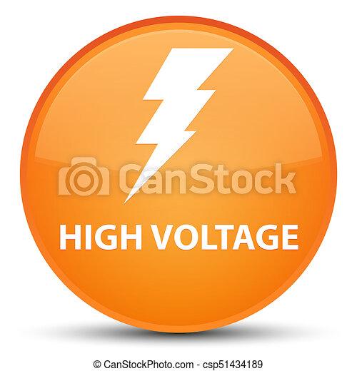 High voltage (electricity icon) special orange round button - csp51434189