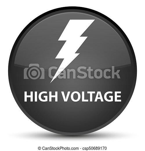 High voltage (electricity icon) special black round button - csp50689170