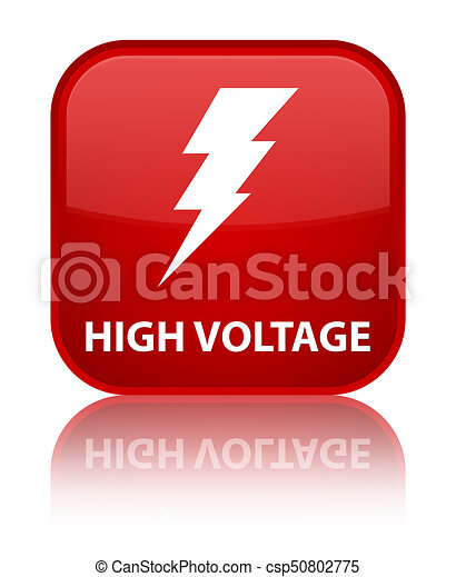 High voltage (electricity icon) special red square button - csp50802775