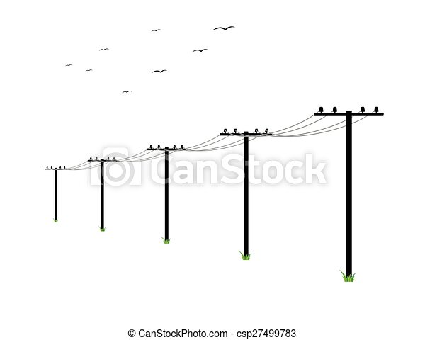 High Voltage Power Lines And Birds On White Background Vector - Search Clip Art Illustration ...