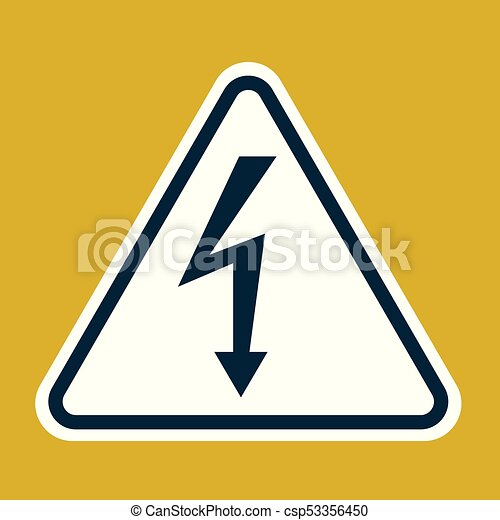 High Voltage Sign Danger Symbol Black Arrow Isolated In White