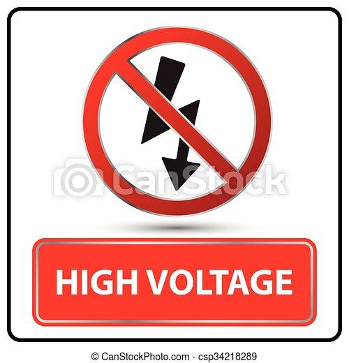 high voltage sign vector illustration - csp34218289