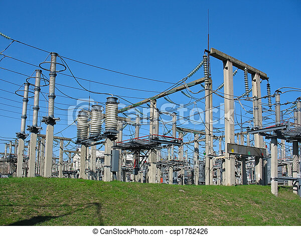 high-voltage substation on blue sky background with switch and connectors - csp1782426