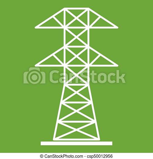 High voltage tower icon green - csp50012956