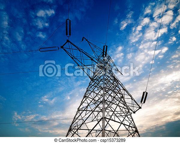 High-voltage tower sky background - csp15373289