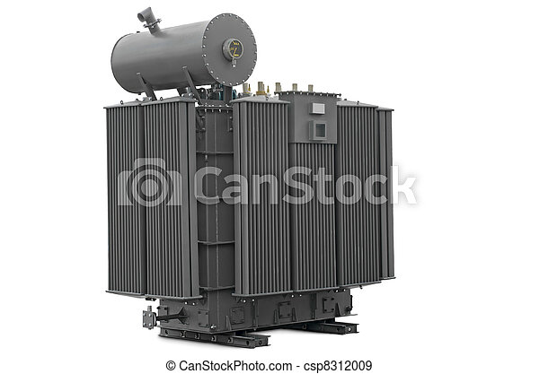 high-voltage transformer on a white background - csp8312009