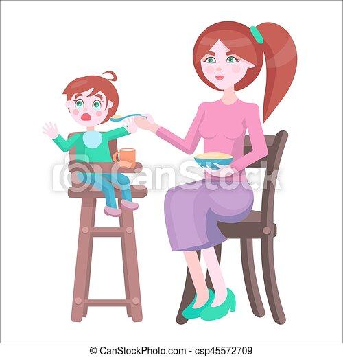 Mutter füttert Baby, das auf Hochstühlen sitzt und weint - csp45572709