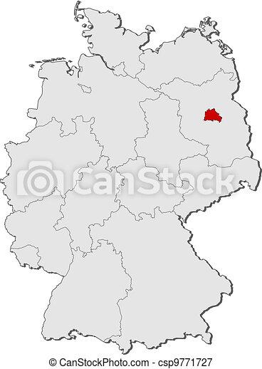 Highlighted Mapa Berlin Niemcy Mapa Polityczny Stany Berlin