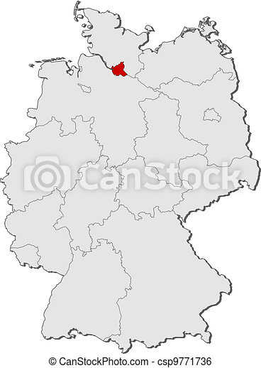 Highlighted Mapa Niemcy Hamburg Mapa Polityczny Stany
