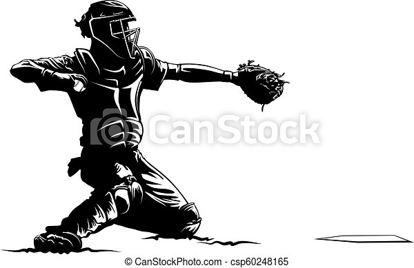 Highlighted Silhouette Baseball Catcher Highlighted Silhouette Of A