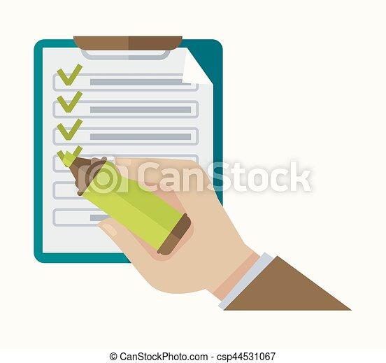 Compruebe lista de anotaciones y marca de marca vector - csp44531067