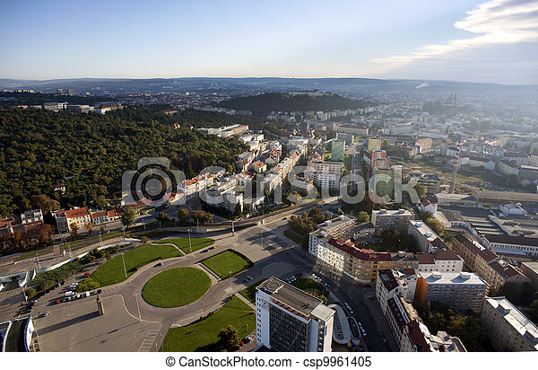 Highly detailed aerial city view with crossroads, roads, factories, houses, parks, parking lots, exhibition grounds, Brno, Czech Republic - csp9961405