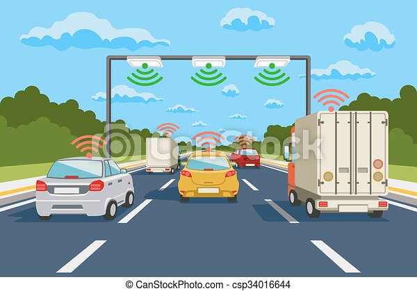 Highway communication system vector infographics - csp34016644